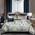 Роскошный Королевский Комплект постельного белья в европейском стиле синего цвета  двуспальный комплект постельного белья из атласа и жак...