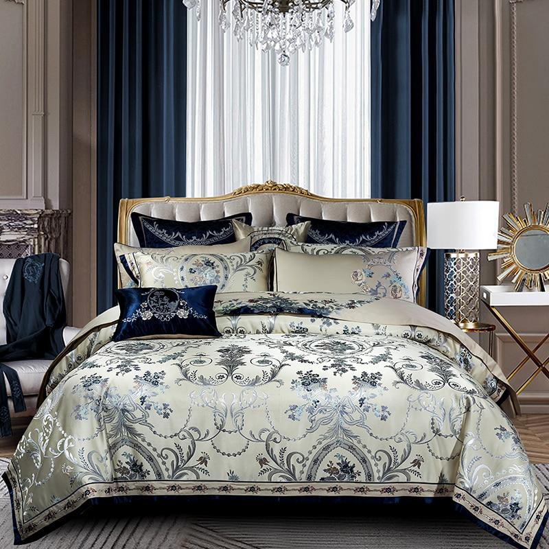 Blue color Europe Luxury Royal Bedding sets Queen King size Satin Jacquard Duvet cover Bedspread sheets set pillowsham 4/6/10PcsBlue color Europe Luxury Royal Bedding sets Queen King size Satin Jacquard Duvet cover Bedspread sheets set pillowsham 4/6/10Pcs