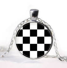 2016 Black and white squares Plaid Tartan Jewelry Girl Round Pendant Necklace Girls Sweater Chain Gift