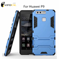 Vifocal Iron Armor Style Case With Kickstand Hard Back Cover Cool PC Case For Huawei P9 5.2""