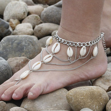 Summer Style New Women Slave Ankle Bracelet Foot Jewelry Antique Silver Anklet Barefoot Sandals Shell Multilayer Anklet 1Pc