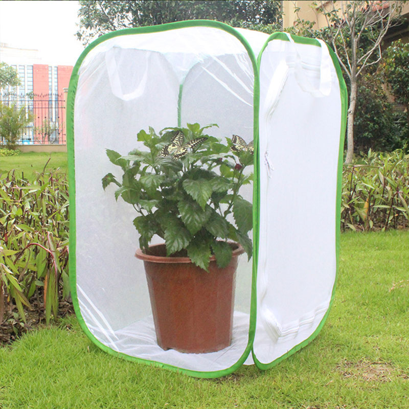 Foldable Insect Habitat Cage Seedling Plant Light Transmission Net Tent Greenhouse HVR88