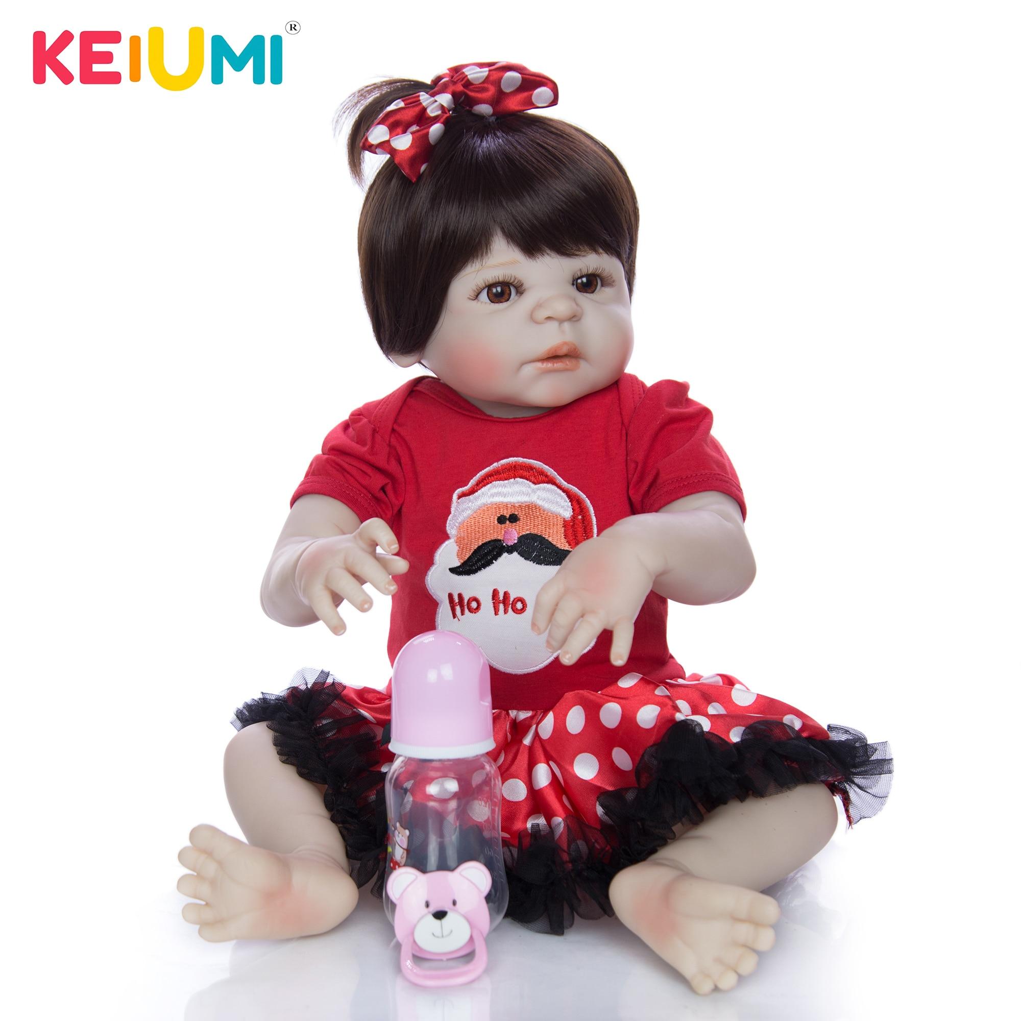 KEIUMI 23 Inch Handmade Baby Girl Dolls Reborn Full Silicone Reborn Bonecas Bebe Alive Toy For