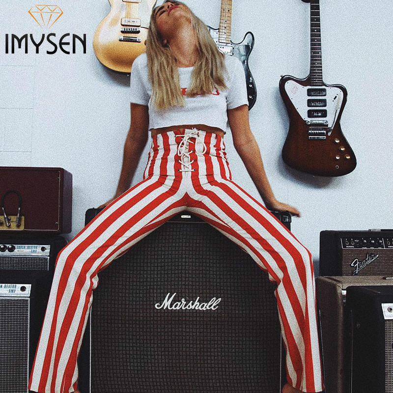 IMYSEN Lace Up Red Striped   Pants   Women High Waist Wide Leg Flare   Pants   Fashion   Capris