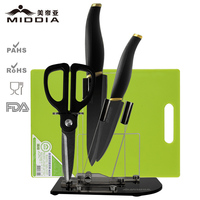 Middia 5pcs matt black ceramic knife set with block kitchen tools