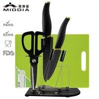 Middia 5pcs matt black ceramic knife set with block kitchen tools