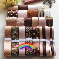 26 Yards High Quality Coffe Adult Ribbons DIY handmade hairpin Bowknot hair accessory grosgrain / satin printed ribbon set