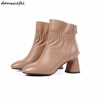 Women's thick high heel ankle boots autumn short booties genuine leather boots high quality handmade nude boots shoes for women