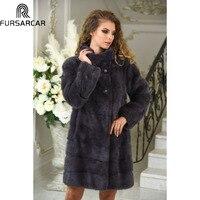 FURSARCAR 2019 темно серый роскошный модный Зимний натуральный мех куртка для женщин норковая шуба теплая толстая пуховая верхняя одежда с воротн