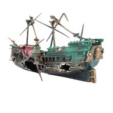 1PC 24*12cm Large Aquarium Decoration Boat Plactic Ship Air Split Shipwreck Fish Tank Wreck Sunk