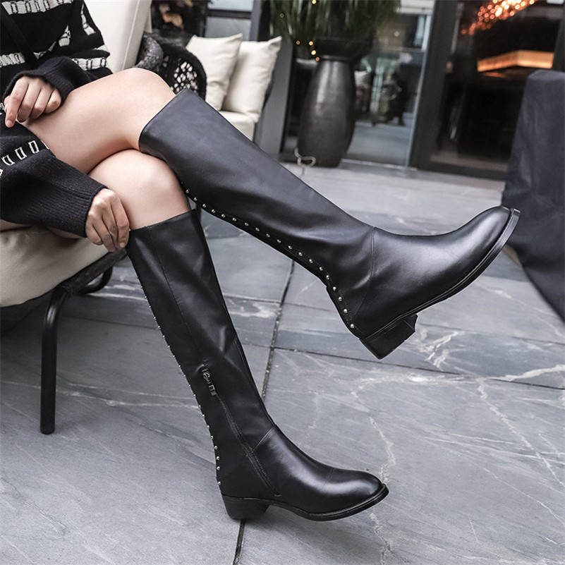 Hauts Noir Bottes Classique Conasco Hiver Talons Chaud Mode Rivets Zipper Neige Long Moto Genou Femme Femmes Chaussures Haute xY47TgqY