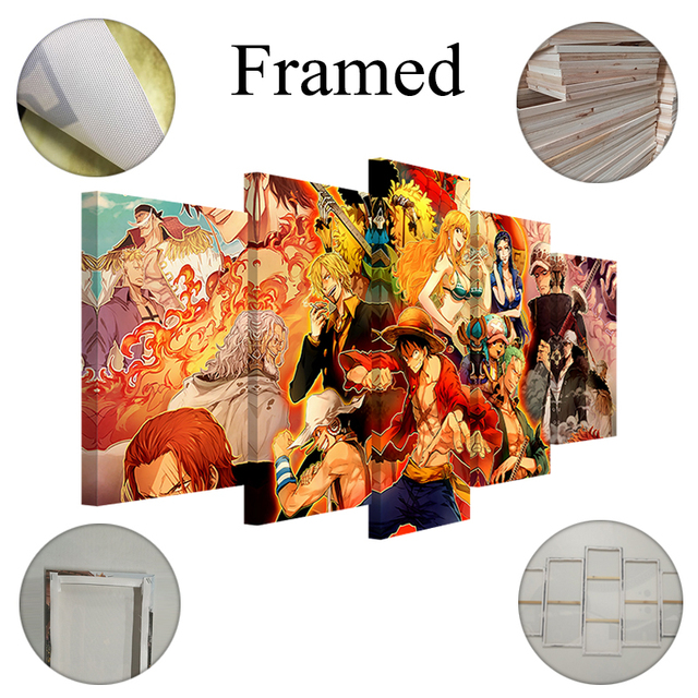 Yphyhd Canvas Wall Art Hd Anime Cartoon Modern Picture Printed 5 Pieces Modular One Piece Poster Home Painting Living Room