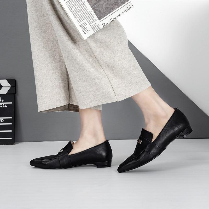 Planos Slip black Casual Piel Oveja Primavera De Punta Zapatos Metal Pie Zvq Beige Mujer Del La Fuera Mujeres Cómodo Conciso Remache en 2019 Las Nuevo Dedo ZAnza