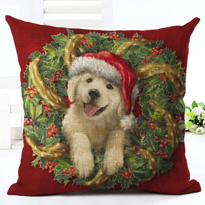 2019 New Year Cartoon Pattern Cat and Dog 45x45cm Pillowcase Merry Christmas Decorations for Home Santa Clause Linen Cover Natal (9)