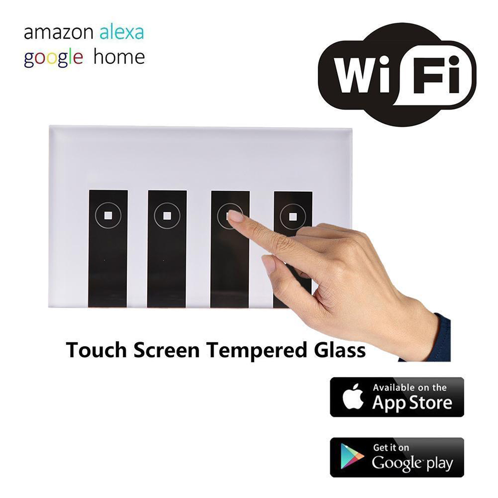 <font><b>WIFI</b></font> Smart Remote Control <font><b>Switch</b></font> 1/ <font><b>2</b></font>/3 / 4 <font><b>Gang</b></font> Touch Wall Light <font><b>Switch</b></font> Tempered Glass Panel Work with Alexa Google Home image