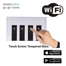 WIFI Smart Remote Control Switch 1/ 2/3 / 4 Gang Touch Wall Light Switch Tempered Glass Panel Work with Alexa Google Home 1 gang wifi control touch switch wallpad 1 gang 1 way wall switch glass panel smart home alexa google home e welink ios android
