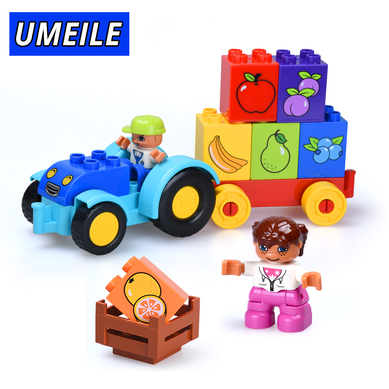UMEILE Brand 18PCS Classic City Vehicle Block Fruits Brother Sister Figure Brick Educational Toys Compatible With Duplo Gift loz mini diamond block world famous architecture financial center swfc shangha china city nanoblock model brick educational toys