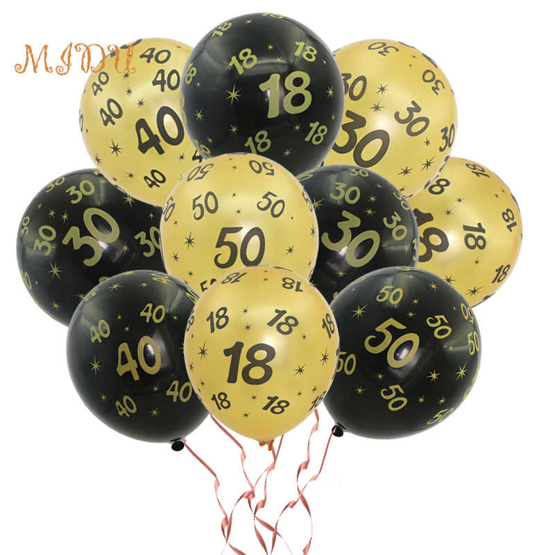 10pcs/lot Happy Birthday Party Decoration 12inch Latex Balloon Golden Black Number 18 30 40 50 Printed Valentine's Day DIY decor