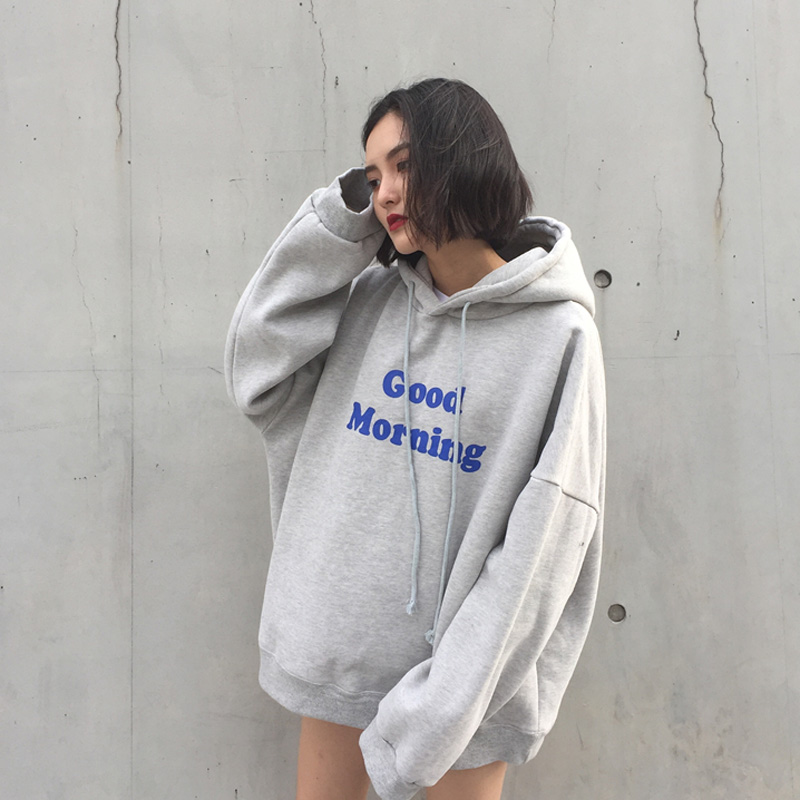 2018 Autumn new fashion wild hood was thin loose women tide college wind Korean long-sleeved shirt students