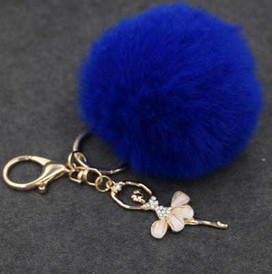 US $4.03  Niedlichen Kaninchen Pelz Schlüsselanhänger Ballerina Mädchen Fell Pom Pom Keychain Schlüsselring schlüsselkette Autoschlüssel Ring Kristall