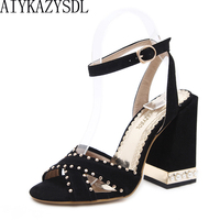 37f43e0438c AIYKAZYSDL 2018 Wedding Bridal Shoes Sexy Cross Strap Rome Sandals Women  Ankle Strap Rivet Pearl Shoes