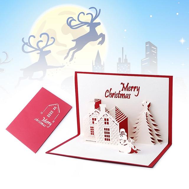 christmas cards 3d pop up merry christmas series santas handmade custom greeting cards christmas gifts souvenirs - Custom Greeting Cards