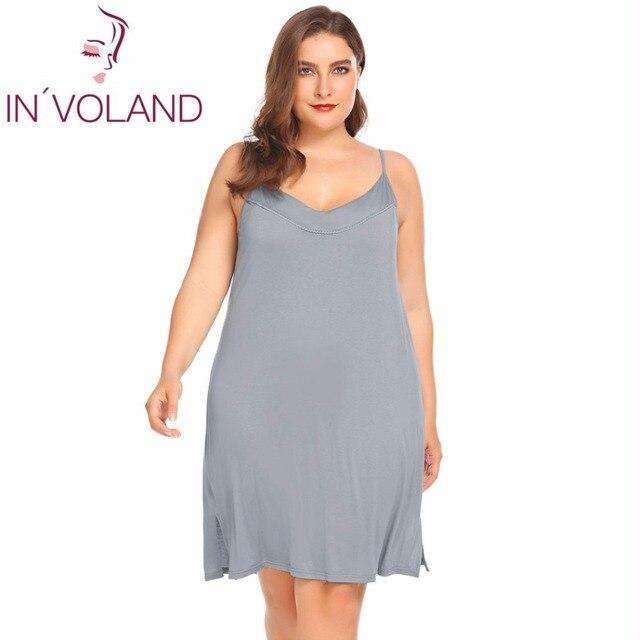 INVOLAND femmes Slip robe de nuit grande taille XL 5XL été salon Chemise à bretelles grande Chemise de nuit robes robes oversize
