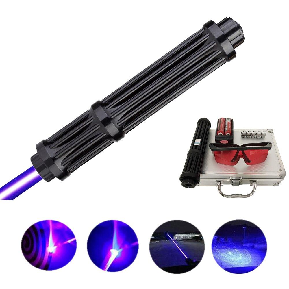 alta qualidade alongar poderoso azul laser ponteiros caca lazer tatico laser vista tocha 10000m focalizavel lanterna