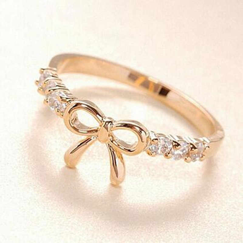 2019 HOT  Korean Simple Fashion Crystal Bow Ring Jewelry Leaf Crystal Rings for Women Adjustable Ring Gifts