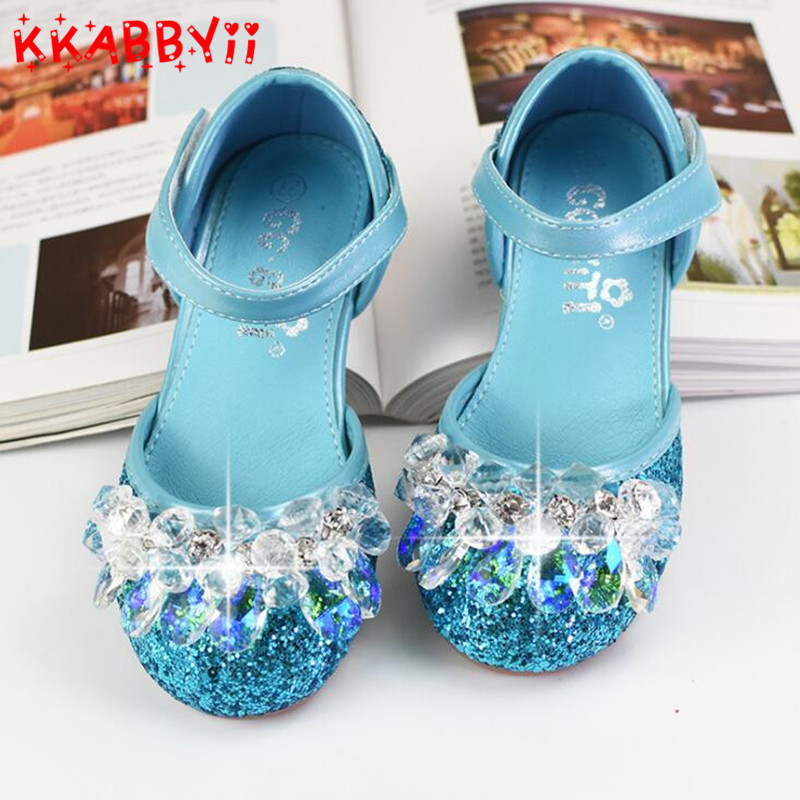 Girls Sandals Children's Shoes Rhinestone Beading Glitter Leather School Shoes For Girls Sequined Heels Kids Female