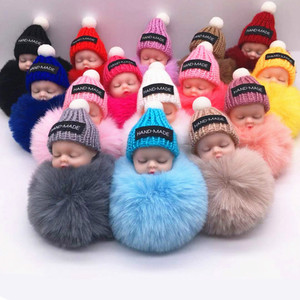 Fashion Colorful Sleeping Baby Doll Hanging Piece Hair Ball Pendant Cute Fluffy Pompom Chain Cotton Wool Holder Bag Ball Toy