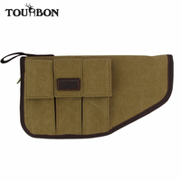Tourbon Tactical Pistol Holder Handgun Pouch Canvas Carrying Case with 3 Magazine Pockets Padded Protection Gun Accessories