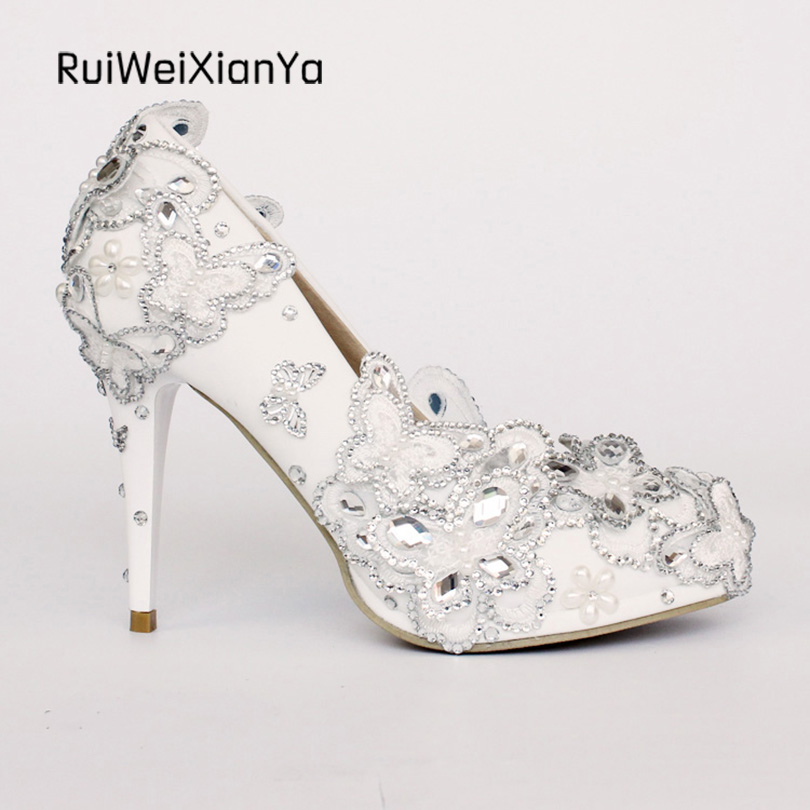2017 New Arrive Spring Ladies Party Shoes Women Pumps Mid-heel Sweet Bowknot Bridal White Wedding Shoes Crystal Diamond Hot Sale 2017 new fashion spring ladies pointed toe shoes woman flats crystal diamond silver wedding shoes for bridal plus size hot sale