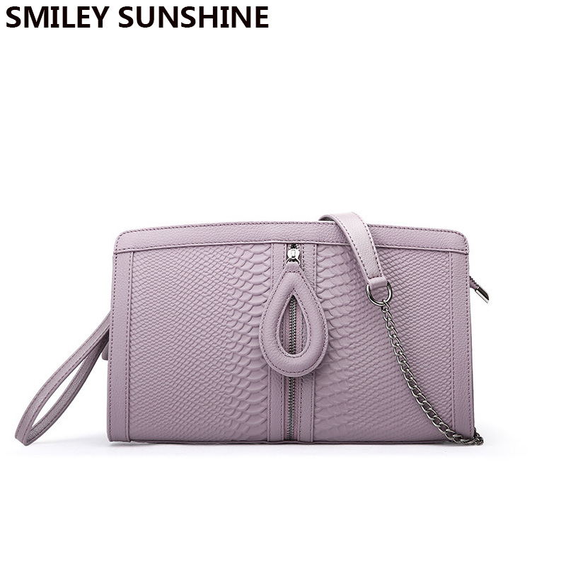 цена SMILEY SUNSHINE genuine leather crossbody bags female serpentine day clutch wristlets women messenger bag ladies small handbags