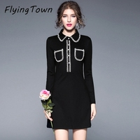 FlyingTown Hepburn Style Vintage Women Black Dress Peter Pan Collar A Line Long Sleeve Lady Party