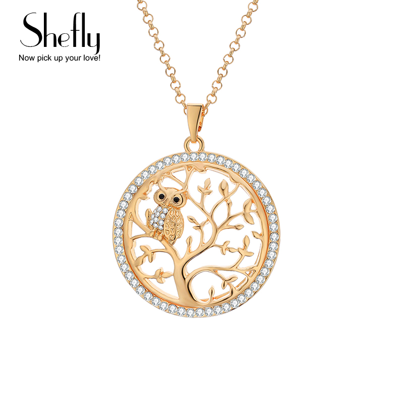 Små Uggla Halsband Tree Of Life Hänge Rose Gold Women Sweater Chain - Märkessmycken - Foto 1