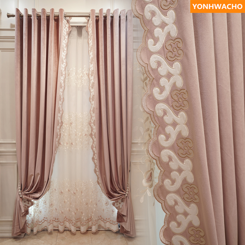 Custom curtains luxury living room princess pink French warm velvet simple solid panel cloth blackout curtain tulle drapes B143Custom curtains luxury living room princess pink French warm velvet simple solid panel cloth blackout curtain tulle drapes B143
