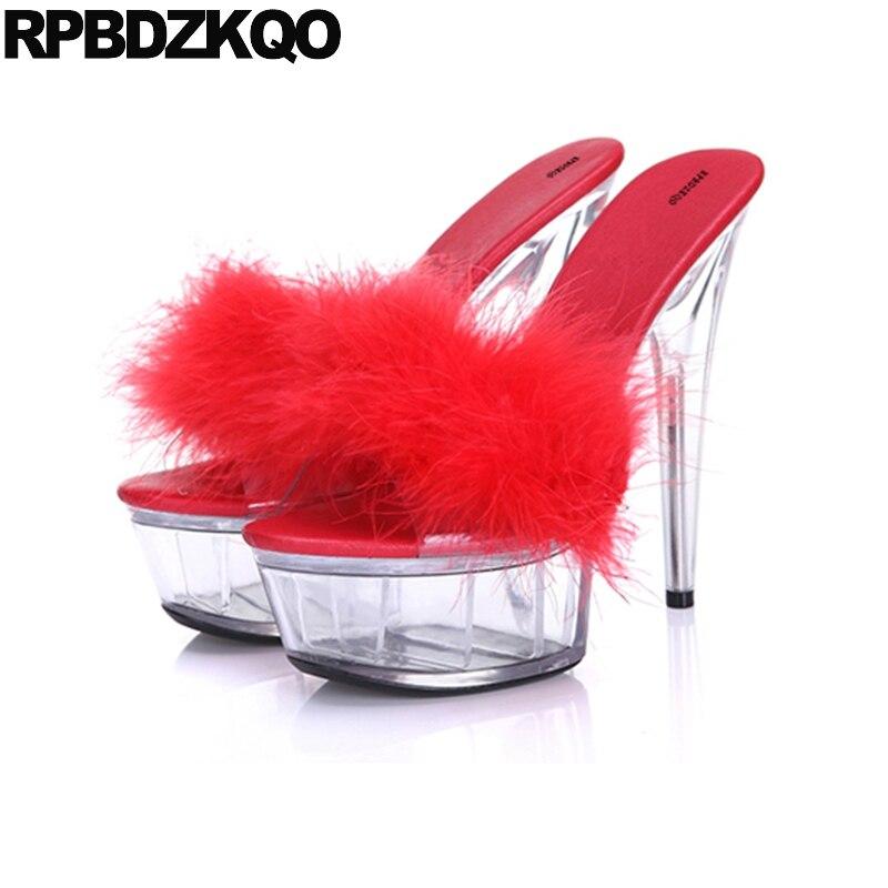 Glass Slipper Shoes Stripper Stiletto Slides Furry High Heels Women 11 Fur Pumps Crossdressed Sandals Platform Perspex Big Size цена