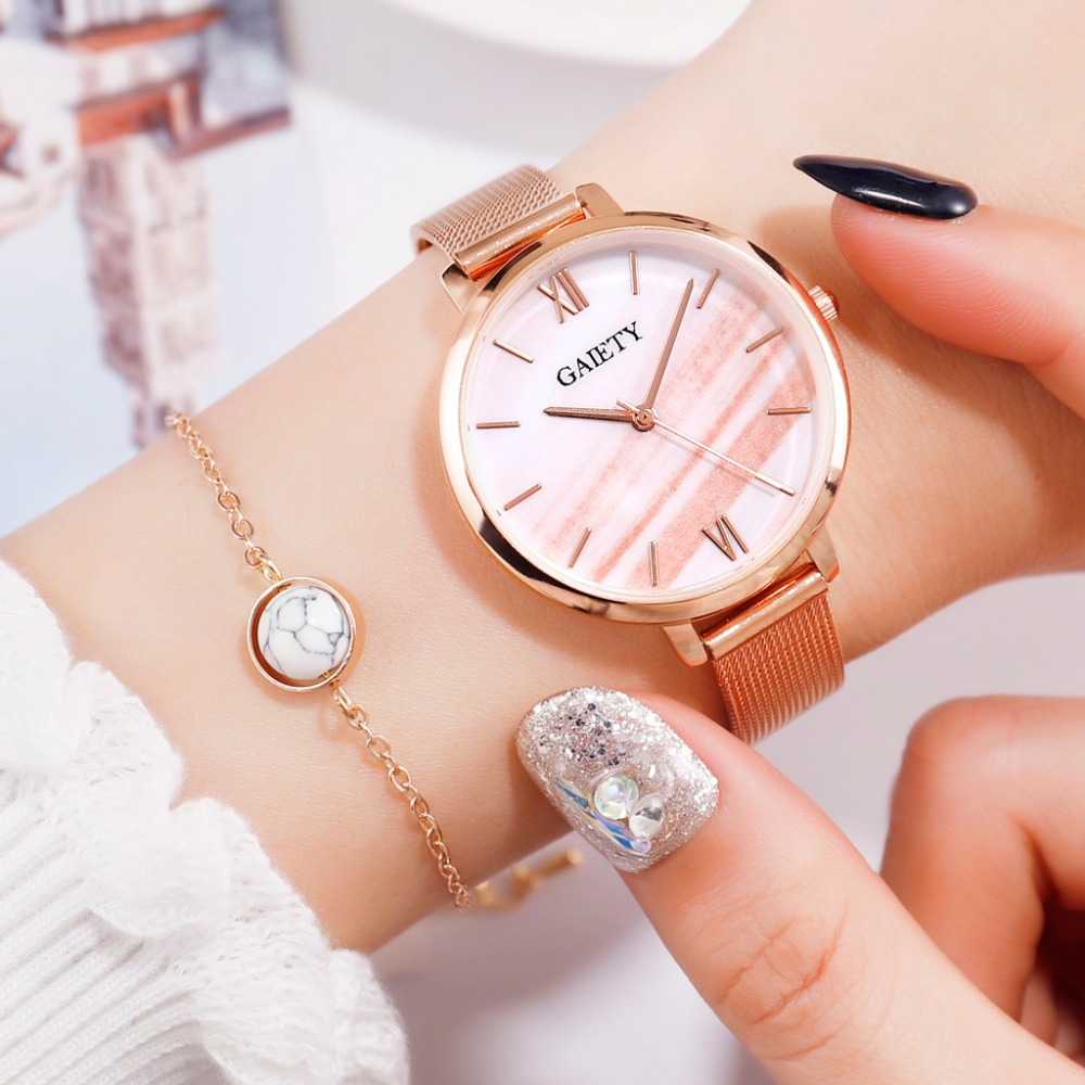 Gaiety Brand Luxury Rose Gold Bracelet Dress Watches For Women Fashion Malachite Green Dial Mesh Steel Band Girl Watch