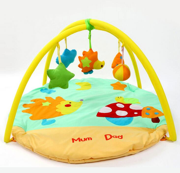 Hedgehog Cotton Material Baby Play Mat Yellow Crawling Mat Infant Floor Blanket Baby Toys Mats Baby Cushion Kids Gift baby play mats brown bear baby crawling mats baby cushion 0 12 months baby mats gifts 95cm 95cm toys mat