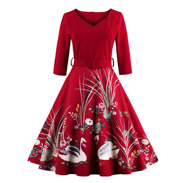MisShow Vestidos Vintage Autumn dress Printed 60s Hepburn Casual Dress Rockabilly 4XL plus size women clothing party dress