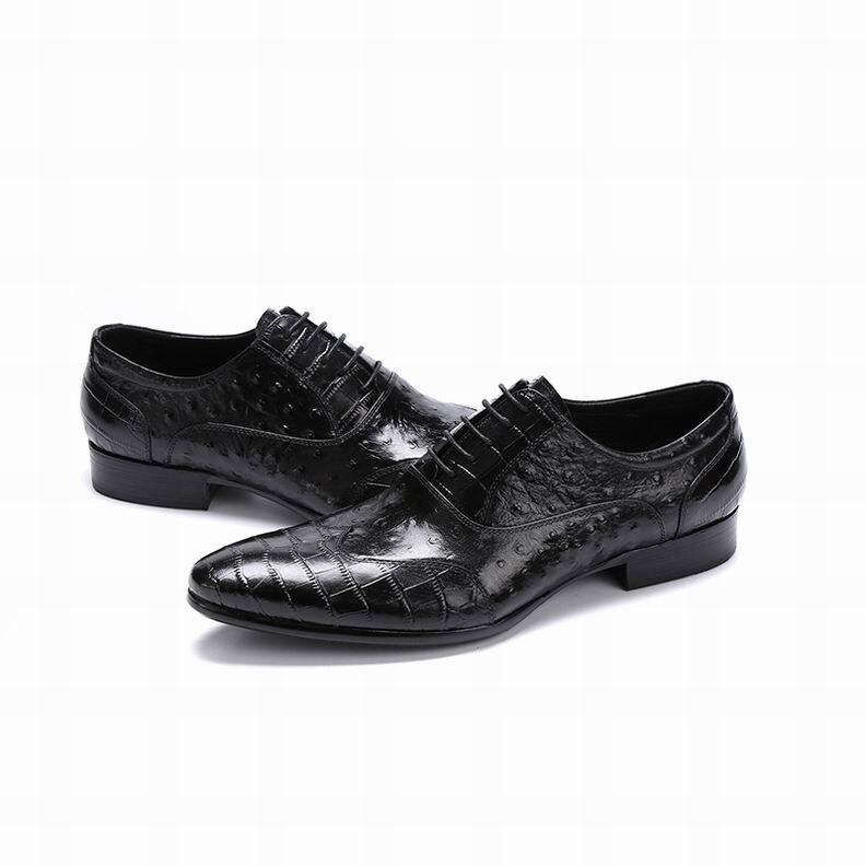 eaff8ca1 Diseño 800 Grano La Eke5 Estilo Zapatos Británico Moda marrón Hombre  Avestruz Hombres Genuino Nuevo Vestido Eioupi Cuero Punta Negro ...