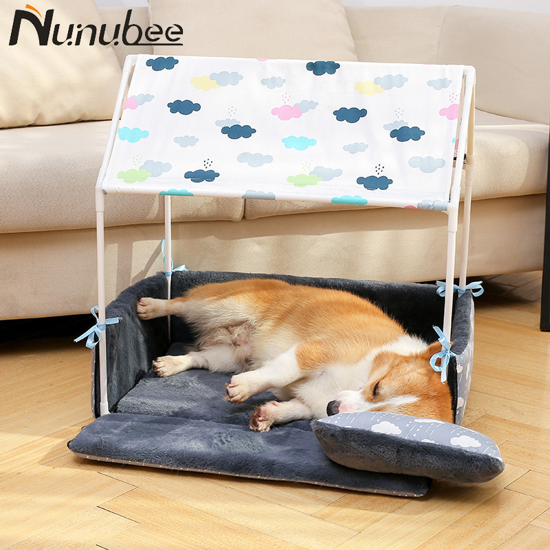 Nunubee New Washable Warm Dog Bed House DIY Pet Cat Sofa Bed Kennel for Small Medium Dogs Pet Supplies (Pet bed+Pillow+Lamp) thumbnail