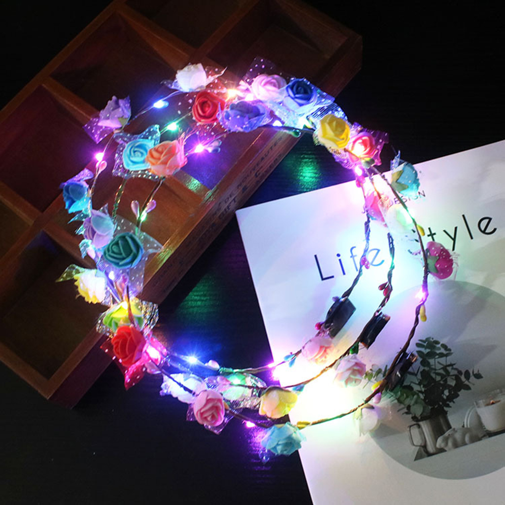 Party Glowing Wreath Halloween Crown Flower Headband Bright Girls Color Random LED Light Up Multicolor Hair Wreath Hairband Toys