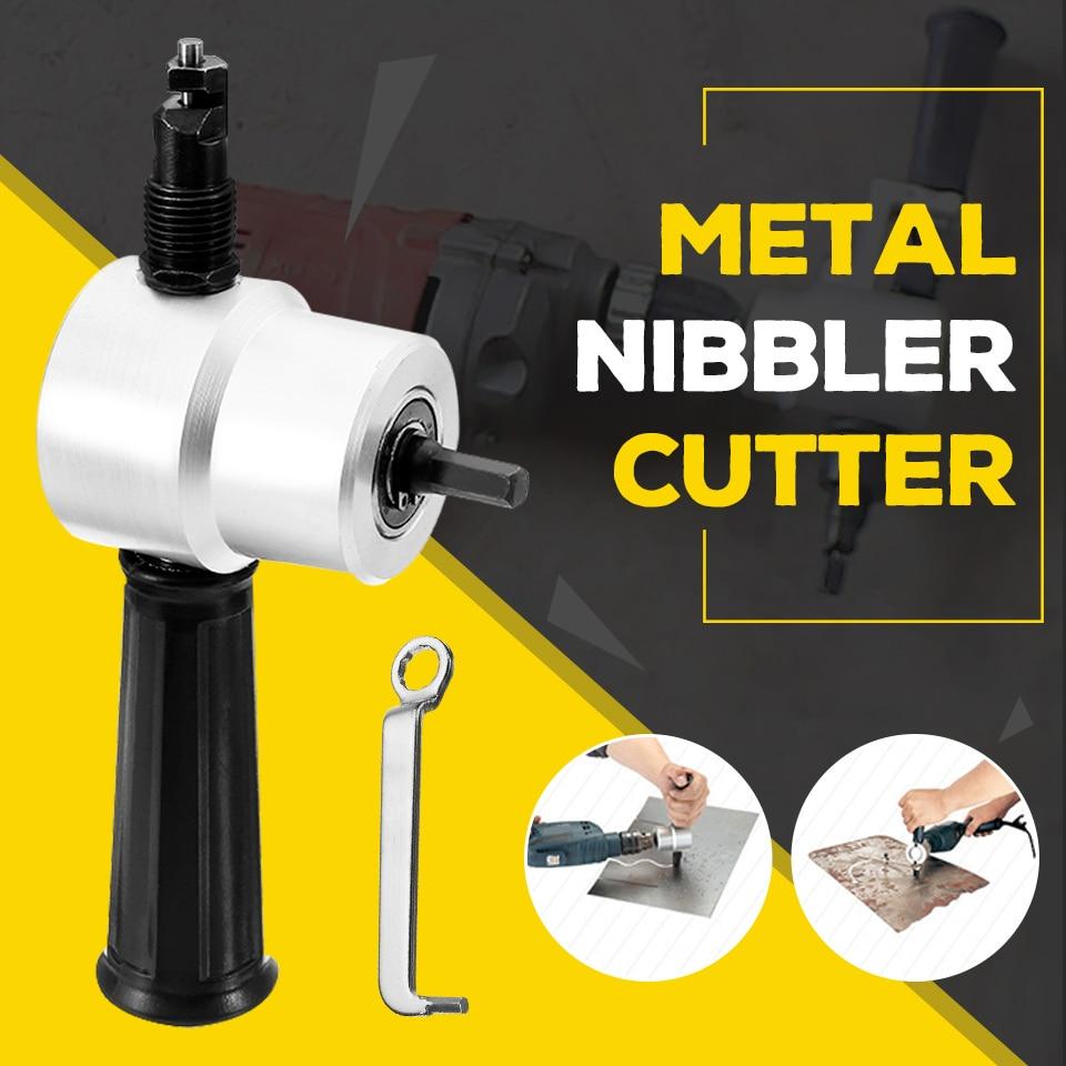 Sheet Metal Nibbler Cutter Double Head Sheet Nibbler Metal Cutter Drill Attachment Free Cutting Tool Newest Metal Cutting Tool  Nibbler