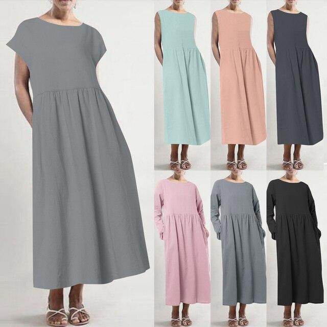 Women's Linen Sundress ZANZEA 2019 Plus Size Summer Midi Dress Casual Short Sleeve Shirt Vestidos High Waist Pleated Robe Femme