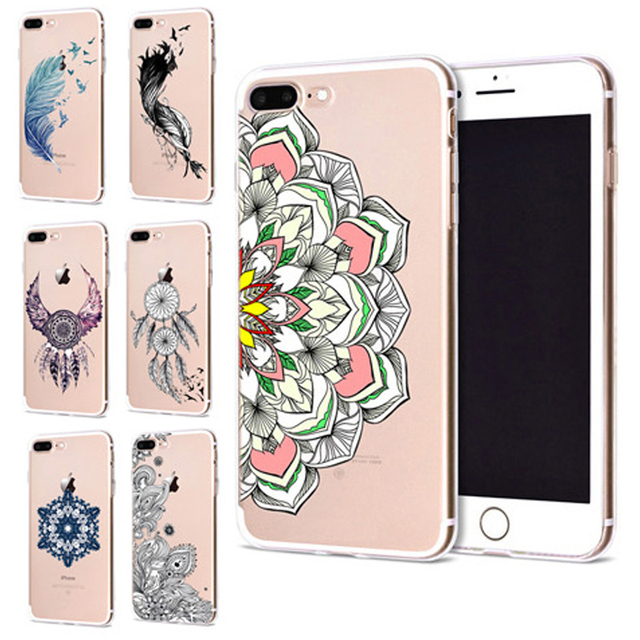 f9e5c6a7a45 Funda For Apple iPhone 6 6S 7 Plus X 10 Feather Mandala Soft TPU Cover for  iPhone 7 Case Original Coque for iPhone 8 Case B346