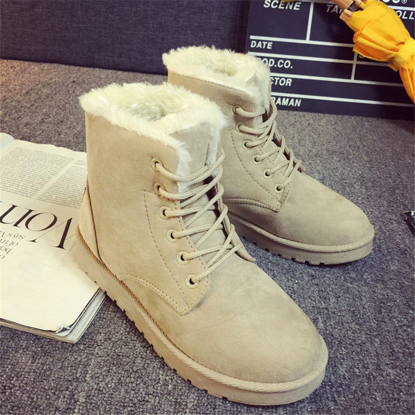 2017 Hot Sale Women s Winter Snow Boots Lace Up Warm Ankle Boots for Women Fashion