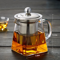 High Grade Blown Glass Tea Coffee Set Resistant Bottle Cup With Infuser Tea Leaf Herbal Of