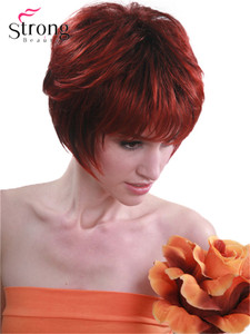 Image 4 - StrongBeauty Red mix Black Short Soft Layered Shag Full Synthetic Wig for Women